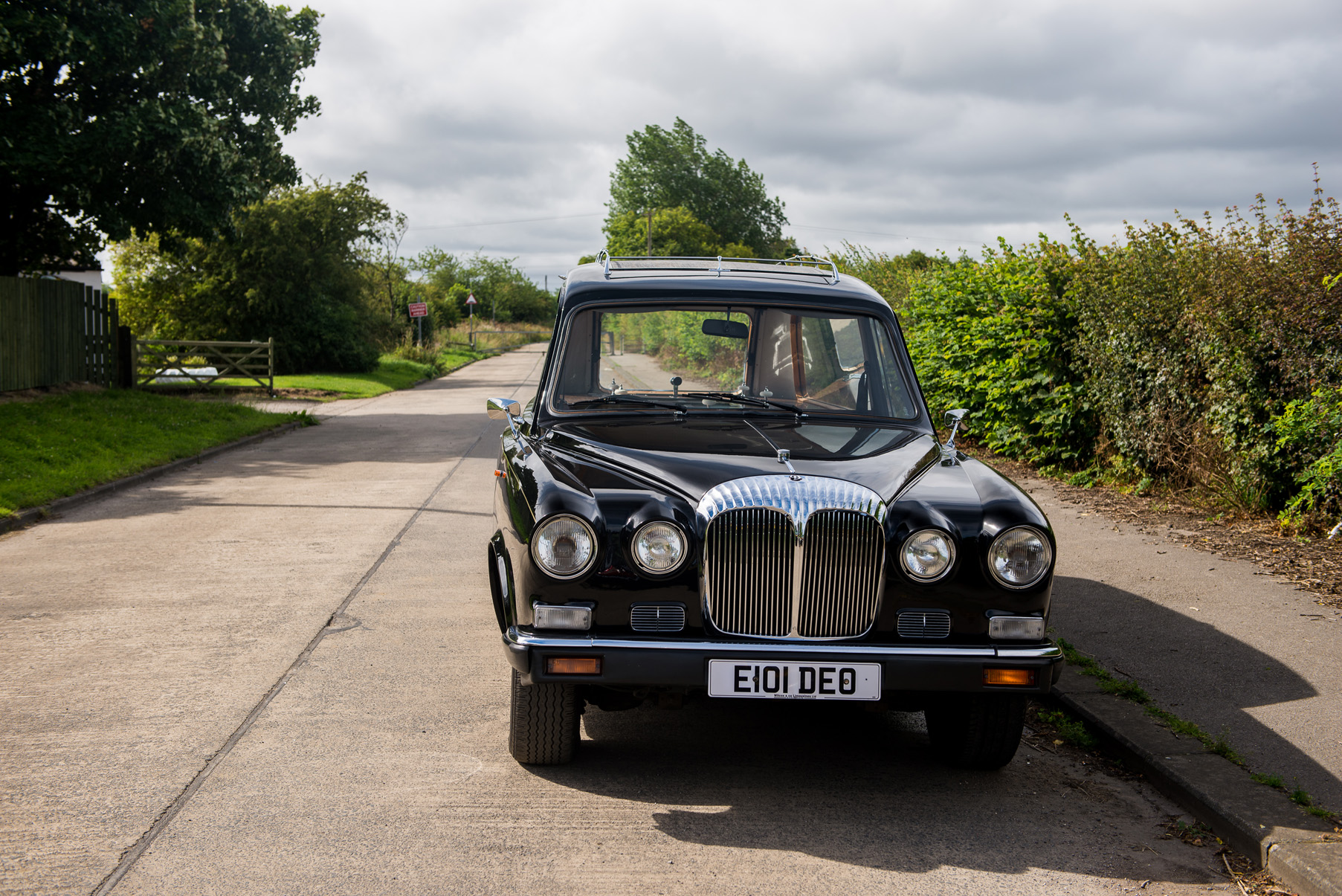 Classic black Jaguar hearse